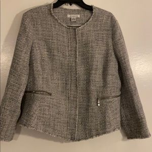 Grey tweed fringed jacket SZ XL